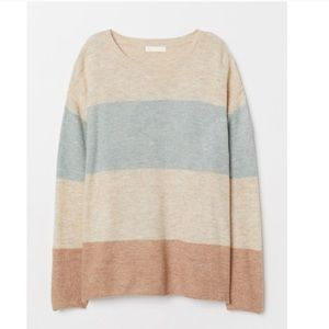 H&M Color Block Fine Knit Sweater - Tan and Blue